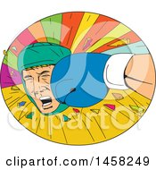 Clipart Of A Boxer Being Punched In The Face In A Burst Oval In Sketched Drawing Style Royalty Free Vector Illustration