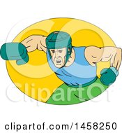 Clipart Of A Male Boxer Fighter Hitting A Knockout Punch In A Yellow Oval In Sketched Drawing Style Royalty Free Vector Illustration