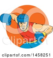 Male Boxer Fighter Hitting An Overhead Punch In An Orange Circle In Sketched Drawing Style