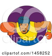 Male Boxer Fighter Punching In A Purple Circle In Sketched Drawing Style