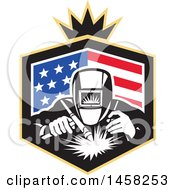Clipart Of A Retro Welder Worker In An American Flag Shield With A Crown Royalty Free Vector Illustration