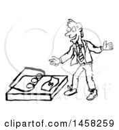 Clipart Of A Sketched Business Man Reaching For A Dollar In A Trap In Black And White Royalty Free Vector Illustration