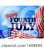 3d American Flag And Fourth Of July Text Over Blue Sky With Flares