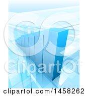 Poster, Art Print Of 3d Blue Growing Bar Graph