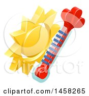Clipart Of A 3d Sun And Thermometer Weather Icon Royalty Free Vector Illustration by AtStockIllustration