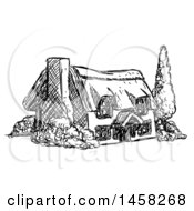Clipart Of A Sketched Country Cottage House In Black And White Royalty Free Vector Illustration