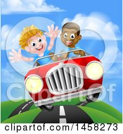 Clipart Of A Happy Black Boy Driving A White Boy And Catching Air In A Convertible Car Royalty Free Vector Illustration by AtStockIllustration