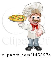 Clipart Of A Cartoon Happy White Male Chef Holding A Pizza And Giving A Thumb Up Royalty Free Vector Illustration