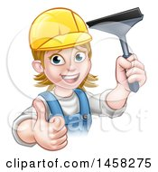Clipart Of A Cartoon Happy White Female Window Cleaner In Blue Giving A Thumb Up And Holding A Squeegee Royalty Free Vector Illustration by AtStockIllustration