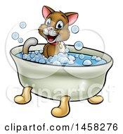 Cartoon Happy Brown Cat Sitting In A Bath Tub