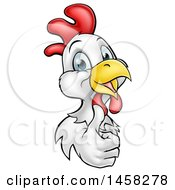 Happy White And Brown Chicken Or Rooster Giving A Thumb Up Around A Sign