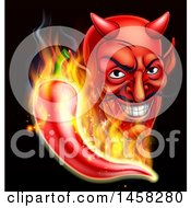 Clipart Of A Grinning Cartoon Devil Face And Flaming Hot Chili Pepper On Black Royalty Free Vector Illustration