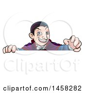 Clipart Of A Cartoon Vampire Over A Sign Royalty Free Vector Illustration by AtStockIllustration