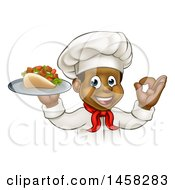 Clipart Of A Cartoon Black Male Chef Holding A Souvlaki Kebab Sandwich On A Tray And Gesturing Perfect Royalty Free Vector Illustration by AtStockIllustration