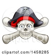 Clipart Of A Skull And Crossbones Jolly Roger With A Pirate Hat Royalty Free Vector Illustration by AtStockIllustration