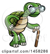 Poster, Art Print Of Cartoon Happy Old Tortoise Walking With A Cane