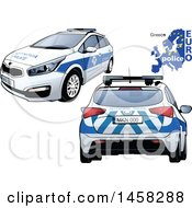 Clipart Of A Greek Police Car With A Map And Euro Police Text Royalty Free Vector Illustration by dero