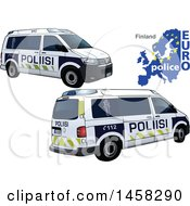 Finnish Police Car With A Map And Euro Police Text