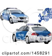 Clipart Of An Estonian Police Car With A Map And Euro Police Text Royalty Free Vector Illustration by dero