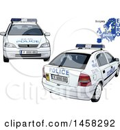 Clipart Of A Bulgarian Police Car With A Map And Euro Police Text Royalty Free Vector Illustration by dero