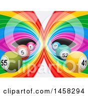 Mirrored Rainbow Background And 3d Bingo Or Lottery Balls