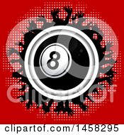 Clipart Of A 3d Eightball Encircled With A Silhouetted Crowd On Red Royalty Free Vector Illustration