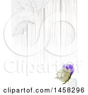 Poster, Art Print Of Corner Of White Hearts Over Gray Stripes And A 3d Rose And Tulip