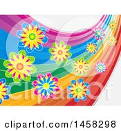 Rainbow Swoosh With Colorful Flowers
