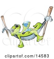 Green Gecko Relaxing In A Hammock Suspended On Two Sticks And Holding A Blue Alcoholic Beverage In A Glass While On Vacation In Hawaii
