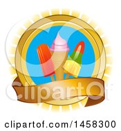 Clipart Of A Circle With Popsicles And Ice Cream Over Rays With A Banner Royalty Free Vector Illustration