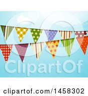 Patterned Bunting Banner Over Blue Sky