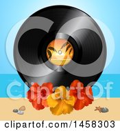Clipart Of A Vinyl Record Album With Hibiscus Flowers On A Beach Royalty Free Vector Illustration