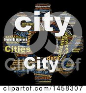 Clipart Of A Smart City Gear Word Cloud On A Black Background Royalty Free Illustration by MacX