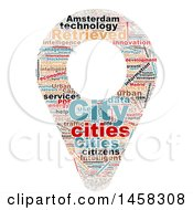 Smart City Map Pin Word Cloud On A White Background