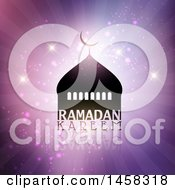 Clipart Of A Silhouetted Mosque With Ramadan Kareem Text Over Purple Rays And Sparkles Royalty Free Vector Illustration by KJ Pargeter