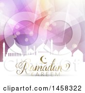 Clipart Of A Silhouetted Mosque With Ramadan Kareem Text Over A Geometric Background Royalty Free Vector Illustration by KJ Pargeter
