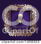 Clipart Of A Lantern With Ramadan Kareem Text In A Gold Frame On Purple Royalty Free Vector Illustration by KJ Pargeter