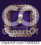 Poster, Art Print Of Lantern With Ramadan Kareem Text In A Gold Frame On Purple