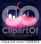 Clipart Of A Silhouetted Sparkly Pink Mosque With Ramadan Kareem Text Royalty Free Vector Illustration by KJ Pargeter