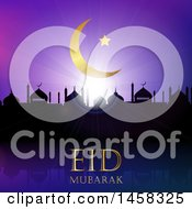 Clipart Of A Silhouetted Mosque With Eid Mubarak Text Under A Moon Royalty Free Vector Illustration by KJ Pargeter