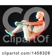 Clipart Of A 3d Medical Male Figure Doing Sit Ups With Dual Color Effect Over Black Royalty Free Illustration