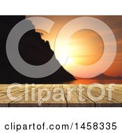 Clipart Of A 3d Wood Table Against A Blurred Mountain Climber And Ocean Sunset Royalty Free Illustration by KJ Pargeter
