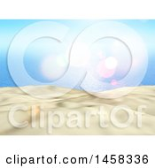 Poster, Art Print Of 3d White Sand And Blue Sea Backdrop