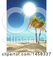 Clipart Of A 3d White Sandy Tropical Beach With Palm Trees And A Sunny Sky Royalty Free Illustration