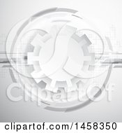 Clipart Of A Grayscale Gear And Dots Background Royalty Free Vector Illustration