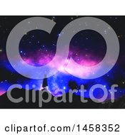 Clipart Of A 3d Silhoeutted Woman Wearing A Clock On Top Of Hills Against A Colorful Night Sky Royalty Free Illustration