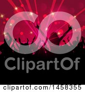 Clipart Of A Silhouetted Crowd Of Dancers Against Flares And Rays Royalty Free Vector Illustration
