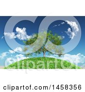 Clipart Of A 3d Willow Tree On A Grassy Hill Royalty Free Illustration by KJ Pargeter