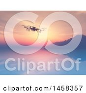 Clipart Of A 3d Drone Over A Still Bay At Sunrise Royalty Free Illustration