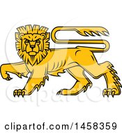 Clipart Of A Golden Yellow Heraldic Lion Royalty Free Vector Illustration by Vector Tradition SM
